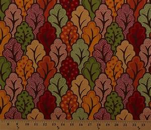 Leaf Color Chart Cotton Moda Neco Foliage Leaves Autumn Fall Fabric Print