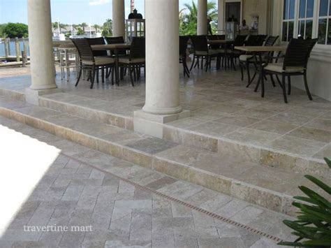 walnut tumbled travertine pavers pool deck