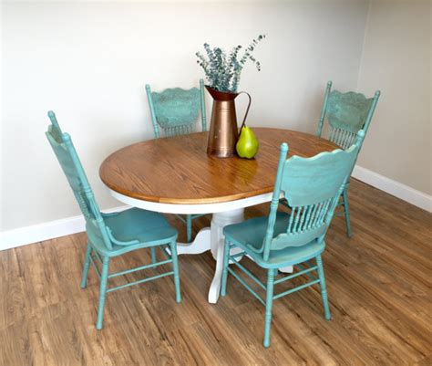 white dining room set teal chairs table set country