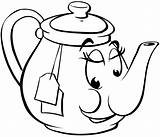 Teapot Coloring Tea Pot Face Cup Meals Printable Smiling Drawing Teacup Drinks Clipart Template Cartoon Kettle Clip Sheet Alice Vinyl sketch template