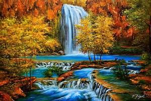 Canyon, Oasis, Havasu, Falls, Arizona, Painting, By, Roman, Roma