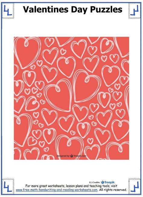 valentine day puzzles printable cut paste puzzles