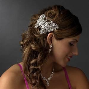 Silver Plated Butterfly Barrette Elegant Bridal Hair