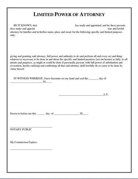 Power Of Attorney Template Special Power Of Attorney Template Image Collections