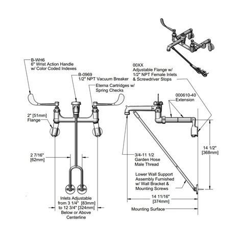 mop sink faucet dimensions mop sink faucet mounting height