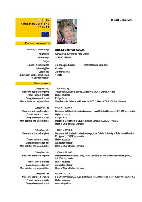 Curriculum Vitae Format by European Curriculum Vitae Format Letters Free Sle
