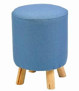 Pouf Sur Pied : pouf rond en lin bleu sur pied en bois ~ Teatrodelosmanantiales.com Idées de Décoration