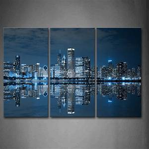 Piece blue wall art painting cool buildings in dark