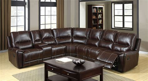 brown reclining console sectional sofa furniture