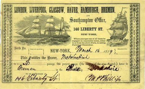 Boat Tickets by Steamship Ticket For Passage For Mr Nicholas Fish On The