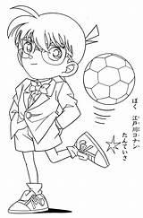 Conan Detective Coloring Ball Kick Colouring Colorare Printable Cartoon Sketch Coloringonly Japan Categories Lankybox sketch template