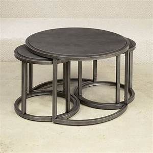 Hammary 297 911 rotation round nesting cocktail table with for Round stacking coffee table