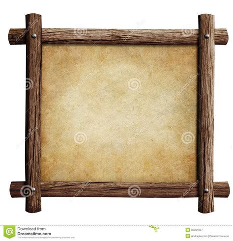 with wooden frame wooden frame with paper or parchment background