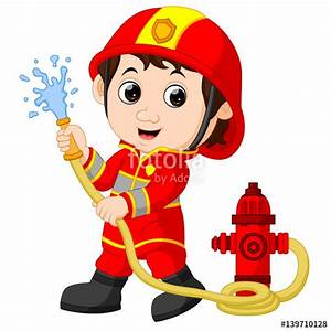 """""""firefighter cartoon"""" Stock image and royalty-free vector ..."""