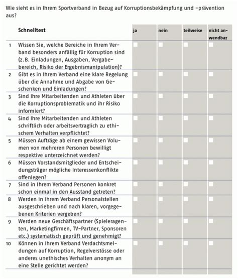 checkliste korruption im sport sport politics