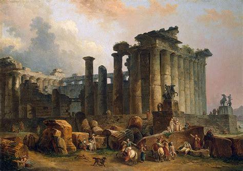 ruins   doric temple hubert robert hermitage museum