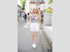 Harajuku Girl in Mickey & Donald Crop Top, Pleated Skirt