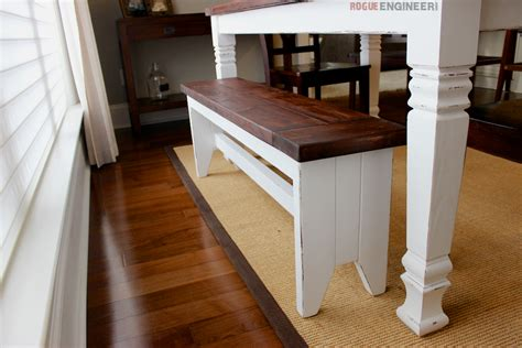 farmhouse table with bench diy farmhouse bench free plans rogue engineer