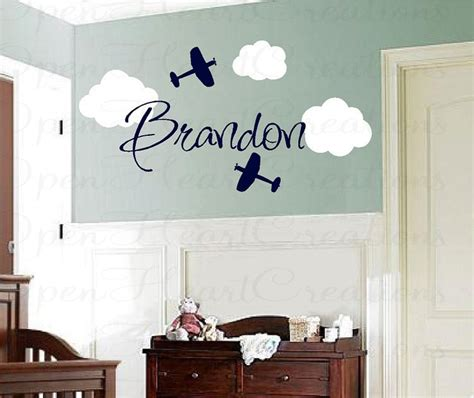 airplane vinyl wall decals with clouds and name boy name