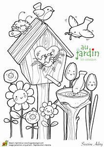 Jardin Dessin Couleur : coloriage jardin les oiseaux ~ Melissatoandfro.com Idées de Décoration
