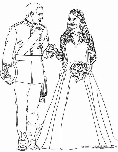 Coloring Pages Kate Royal William Mariage Sheets
