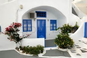mediterranean house plans with photos traditional house in santorini greece stock photo