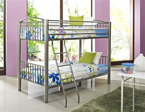 Opting for a rock wall in lieu of a traditional ladder helped to transform these top bunks into a private. Heavy Metal Twin Over Twin Bunk Bed (Pewter) - 941-138 : Decor South