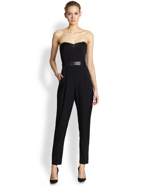 bustier jumpsuit milly strapless bustier jumpsuit in black lyst