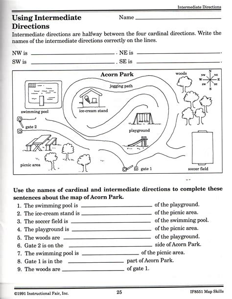 Intermediate Directions Worksheet  Graphic Design & Logos  Map Worksheets, Map Skills