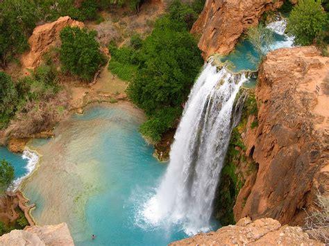 grand canyon havasu falls arizona usa blue waters red rock