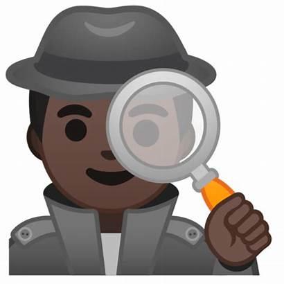 Detective Emoji Dark Tone Skin Android Pie