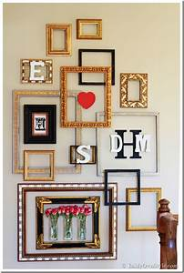 Picture frame gallery wall with a valentine surprise in