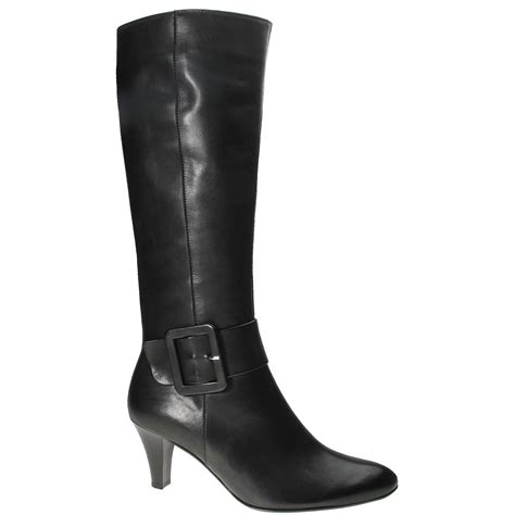 Gabor Iris Black Leather Buckle Detail Long Womens Boots