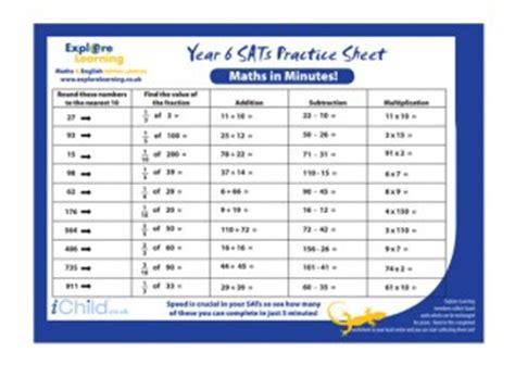 sats practice paper year 6 maths in minutes ichild