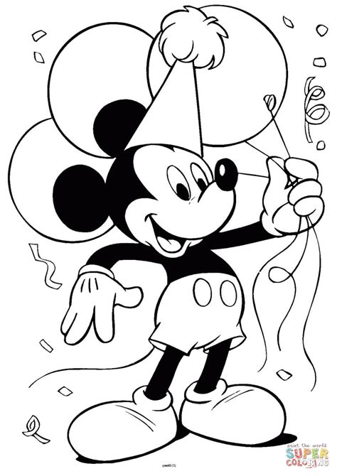 mickey mouse  balloons coloring page  printable
