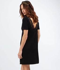 robe droite dos v dentelle moonlight noir etam With robe etam noire