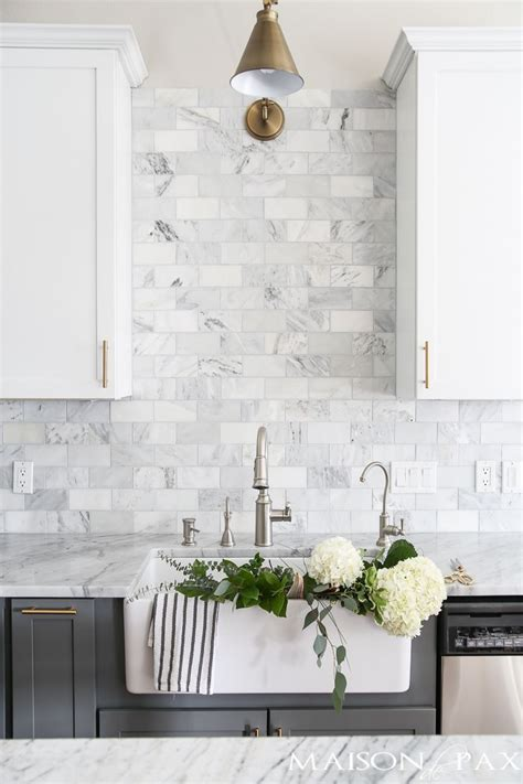 Marble Tile Kitchen Backsplash by Gray And White And Marble Kitchen Reveal Kitchen Ideas