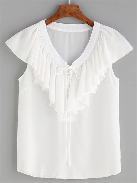 lace up blouses white v neck lace up ruffle blouse shein sheinside