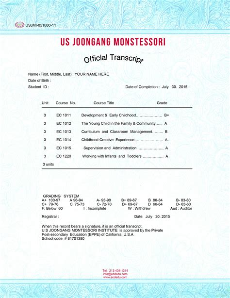joongang montessori institute official document examples