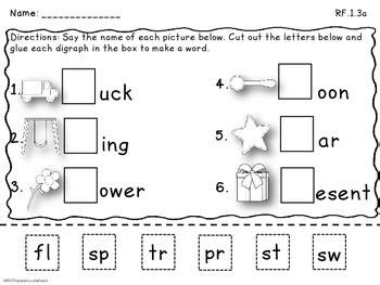 blends digraphs cut and paste blends and consonant