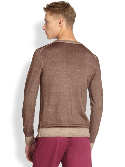 wash sweater j lindeberg coleman wash merino wool sweater in brown for