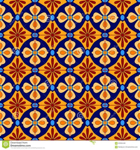 mexican stylized talavera tiles seamless pattern in blue