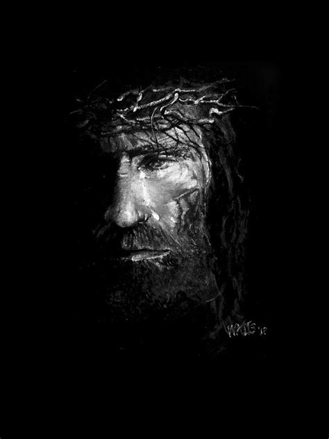 Abstract Jesus Black And White by Jesus Weeps Painting By William Walts
