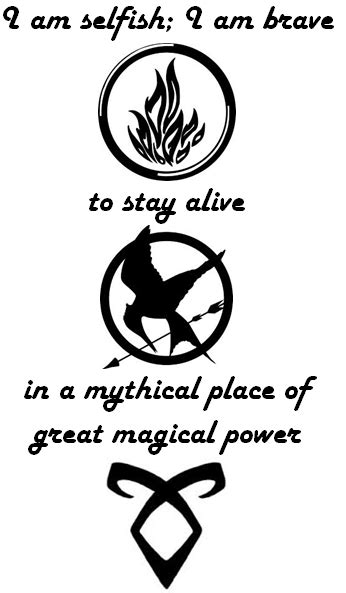 Tattoo idea, quotes from Divergent, Hunger Games, and Mortal Instruments | Tattoos | Mortal