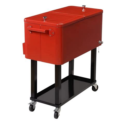 portable bar cooler rolling patio deck cart beer storage