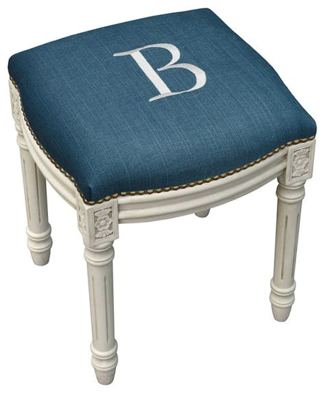 upholstered vanity chair for bathroom monogrammed upholstered vanity stool contemporary