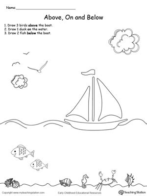 preschool position  direction printable worksheets