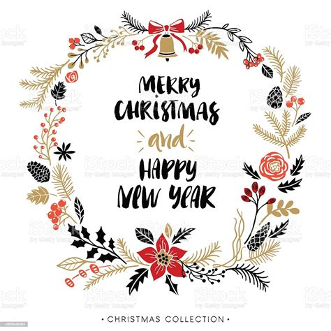 Happy New Year And Merry Christmas Greeting Wreath With