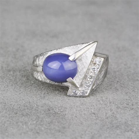 vintage gentlemans synthetic star sapphire diamond ring