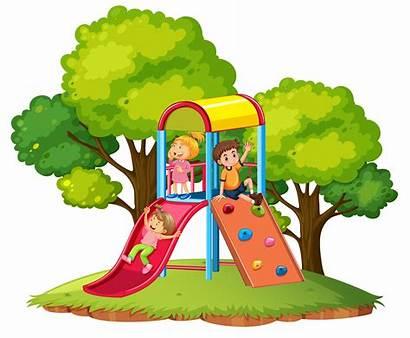 Playground Slide Children Play Vector Park Drawing